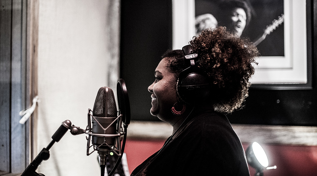 """Emma Donovan during the """"Dawn"""" sessions putting down vocals live with the band"""